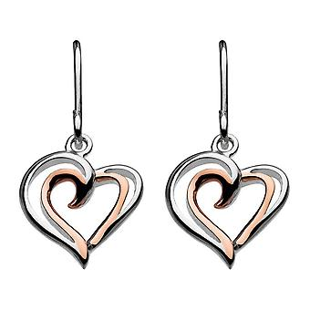 Dew Silver Heart Strands With Rose Gold Plate Drop Earrings 68028RG016