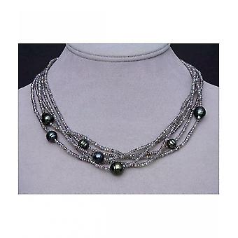 Luna-Pearls Gemstone Necklace with Tahiti Pearls 10130