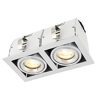 Saxby Lighting Garrix Twin Recessed Light Matt White, Plata 78536