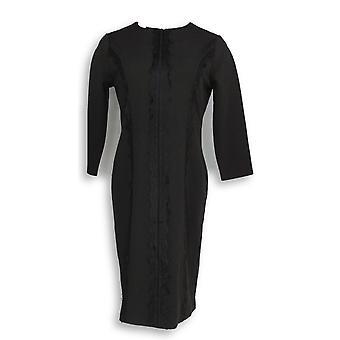 Dennis Basso Dress Caviar Crepe 3/4 Sleeve Knit Black A289803
