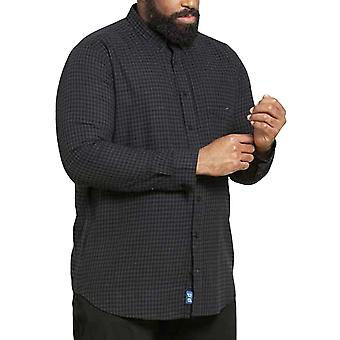Duke D555 Homme Big Tall Jared À manches longues Cotton Collared Chemise à carreaux - Noir