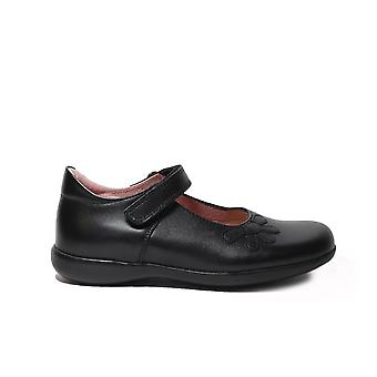 Petasil Bonnie F Width Black Leather Girls Mary Jane School Shoes
