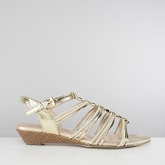 Comfort Plus Acton Ladies Strappy Wedge Sandals Gold