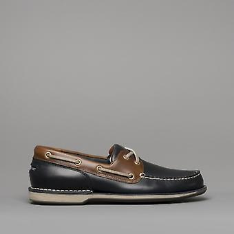 Rockport Perth Mens Leather Boat Shoes Navy/dark Tan