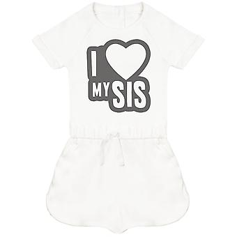 I Love My Sis Black Outline Baby Playsuit