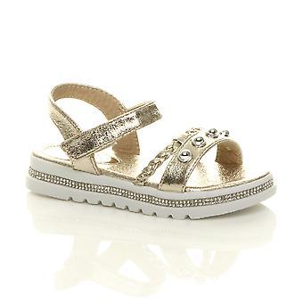 Ajvani girls diamante trim flatform strappy studded sandals