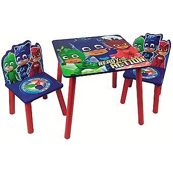 Mesa fixa e 2 cadeiras em máscaras de madeira pj