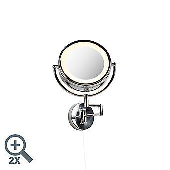 QAZQA Runde Make-up Wandspiegel Chrom Stahl Zugseilschalter x2 - Vicino