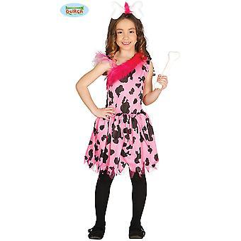 Dla dzieci kostiumy Kobieta jaskiniowa różowy sukienka dla dziewczynek