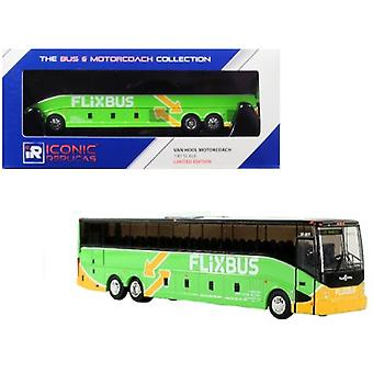 Van Hool Cx-45 Motorcoach Transit Bus Flixbus (Los Angeles) Green 1/87 Diecast Model By Iconic Replicas