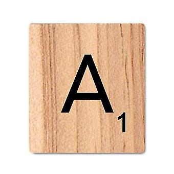 Wooden Scrabble Letters with Printed Numbers and Alphabets -A