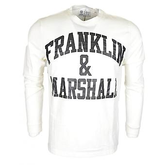 Franklin & Marshall Jersey col rond imprimé Long Sleeve T-shirt blanc