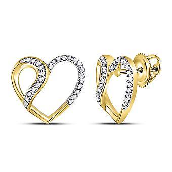 1/6 Carat (ctw) Diamond Heart Earrings in 10K Yellow Gold