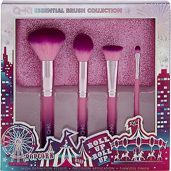 Q-KI Essential Brush Collection - Glitter Purse, Powder, Setting, Contour and Eyeshadow Brush