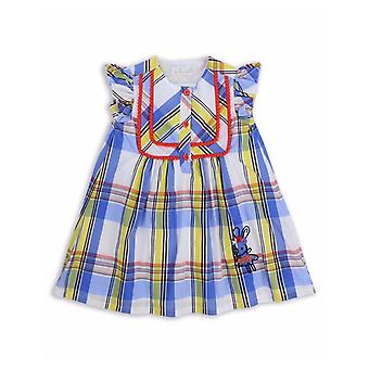 The Essential One Girls Blinky Bunny Check Smock Dress