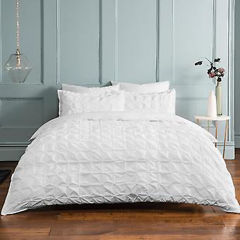 Ruched Pleat White Bedding Set