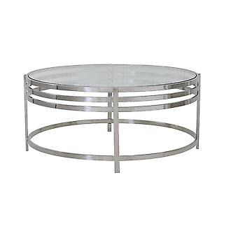 Light & Living Brushed Nickel Round Coffee Table 103x45cm With Clear Glass