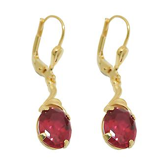 Brisur 30 x 7, 5mm earring synthetic Ruby 8Kt GOLD