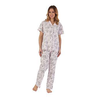 Slenderella PJ55125 Women's Pink Floral Cotton Pyjama Set