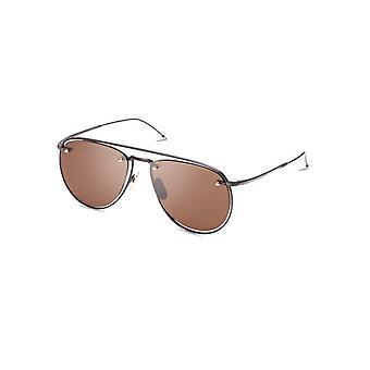 Thom Browne TBS113 03 Black Iron-Navy Enamel-12K Gold/Brown Sunglasses