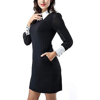 Avtosrno Women Peter pan Collar Long Sleeve Party Work, Black, Size Medium
