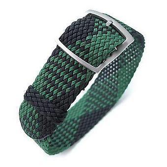 Strapcode النسيج ووتش حزام 20mm miltat perlon حزام ووتش، الأسود والأخضر، وسلم sandblasted قفل المنزلق مشبك