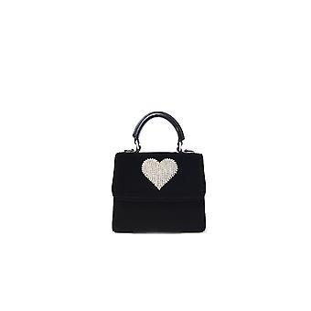 Les Petits Joueurs Bachvt10 Women's Black Velvet Shoulder Bag