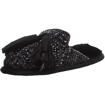 Dearfoams Women's Chenille Closed Toe Scuff with Tassels Slipper, Black, Small