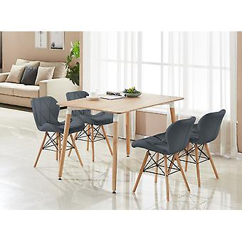 Cecilia Halo Dining Table Set With 4 Chairs