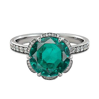 2.00 ctw Emerald Ring with Diamonds 14K White Gold Flower Vintage Halo