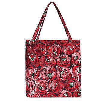 Mackintosh róża i łza gusset torba | kwiatowa składana torba na zakupy | guss-rmtd