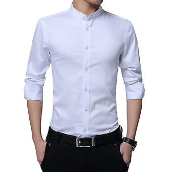 Allthemen Men's Business Shirt Long Sleeve Stand Collar Slim Fit Long Sleeve Shirt