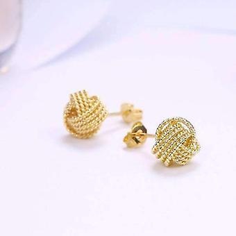 Boucles d'oreilles argentées ou 18k jaunes plaquées d'amour d'amour de noeud pour femme