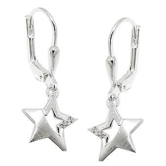 Brisur 25x10mm partiellement dépoli avec étoile de Zircons argent 925 boucles d'oreilles