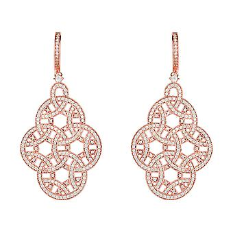 Large Statement Pink Rose Gold Wedding Bridal 925 Sterling Silver Earrings CZ