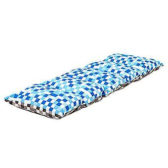 Valmis tasainen sänky lapset & apos; pikseliä sininen/harmaa tulosta taitto tyyny sleepover nap matto