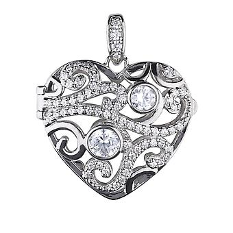 Diamonfire P4612 Silver Heart Filigree Locket