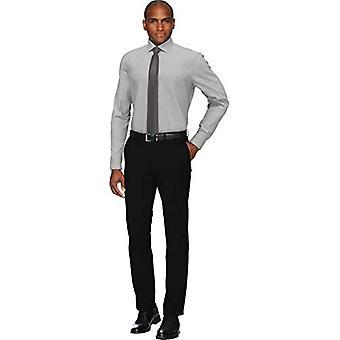 BUTTONED DOWN Men's Slim Fit Spread Collar Solid Pocket Options, Medium Grey ...