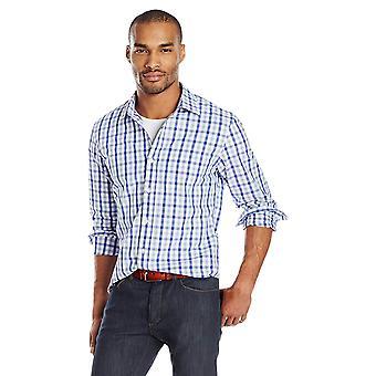 Goodthreads Men's Slim-Fit Long-Sleeve Gingham Plaid Poplin Shirt, Blue/Grey,...