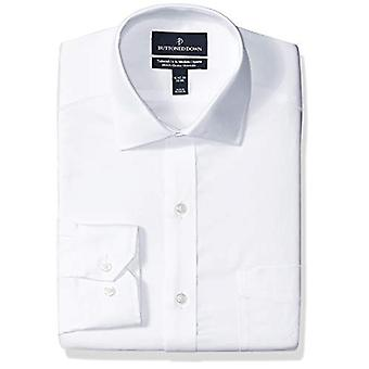 BUTTONED DOWN Men's Tailored Fit Stretch Twill Non-Iron Dress Shirt, White, 1...