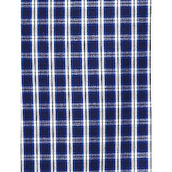 KNÄPPT NER Män & apos; s Slim Fit Supima Bomull Button-Collar Klänning Casual Shirt, Marinblå / Ljusblå Check, M 34/35