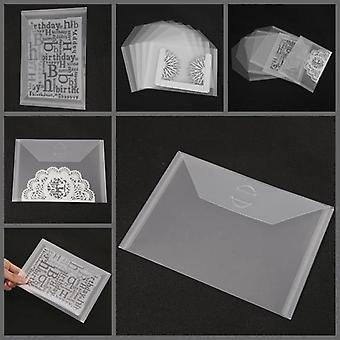 10pcs Transparent Portable Storage Bag - Metal Cutting Dies Storage Clear Silicone Stamp Bump Template Card Cover