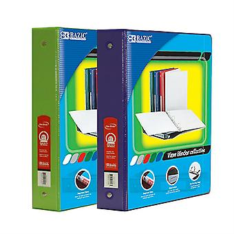 Combo94, BAZIC 1.5 Inch 3-Ring View Binder with 2-Pockets (Case pack of 24 consist 12-Lime Green & 12-Purple)