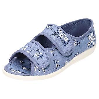 JWF Open Toe Slipper Shoe Low Wedge
