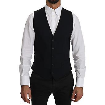 Dolce & Gabbana Blue Wool Waistcoat Formal Gilet Vest -- TSH3765744
