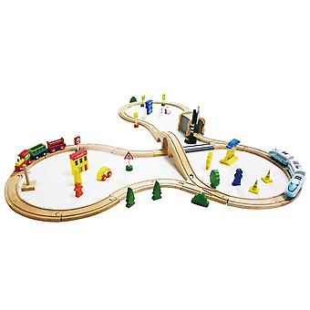 Wooden train set 69 parts with battery-powered locomotive multi-coloured