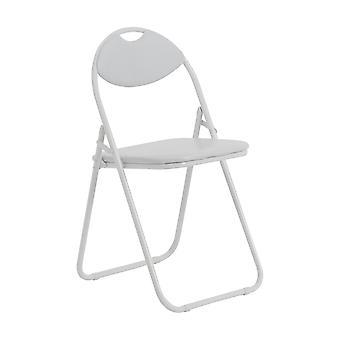 Blanco acolchado, plegable, silla de escritorio / marco blanco - paquete de 1