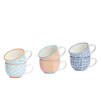 Nicola Spring 6 Piece Hand-Printed Cappuccino Cup Set - Japanese Style Porcelain Coffee Teacups - 3 Colours - 250ml