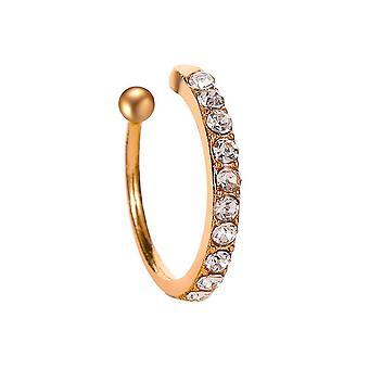 Clip auf Ohrring mit künstlichen Edelsteinen - Gold