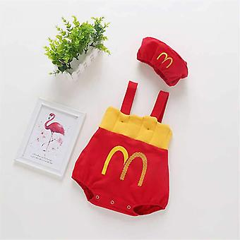 Baby / French Fries, Off Shoulder Straps Romper Jumpsuit